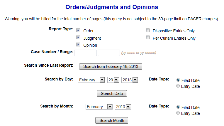 orders/judgments/opinions search